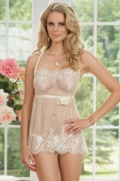 Coquette 2-Piece Eyelash Lace Babydoll and G-String Set