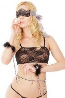 Coquette 2-Piece Lace Eyemask and Chain Cuff Set