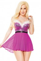 Coquette Lined Sequin Babydoll & G-String Set