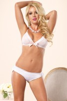 Leg Avenue 2-Piece Bra and Brazilian Panty w/ Eyelet Ruffle Back