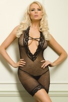 Leg Avenue 2-Piece Lace Trimmed Deep-V Fishnet Dress Set