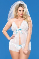 Leg Avenue 2-Piece Sheer Mesh Babydoll Set
