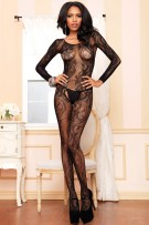 Leg Avenue Seamless Swirl Lace Long Sleeve Bodystocking