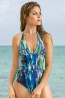 Leonisa Tropical Moderate Tummy Control One-Piece Swimsuit