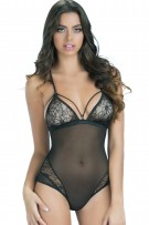 Oh La La Cheri Bridgette Lace Teddy with Back Lace Up