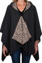 Rainraps Hooded Black and Leopard Print Rainrap
