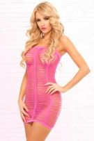 René Rofé Pink Lipstick Shredded Seamless Tube Dress