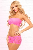 René Rofé Pink Lipstick Side Game Seamless Bandeau Set