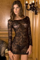 René Rofé Sexy 2-Piece Long-Sleeve Chemise Dress Set