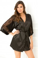 René Rofé Sexy Lace Sleeves Satin Short Robe
