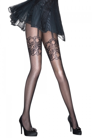 Aristoc for Pretty Polly Mock Suspender Fishnet Tights