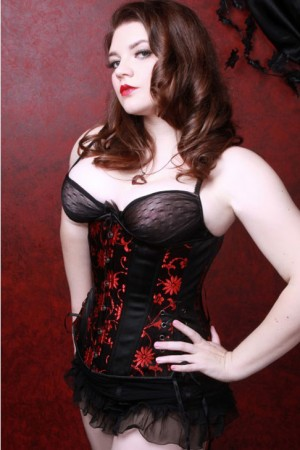 Black Iris Black Red Daisy Long Corset