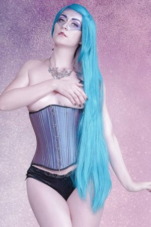 Black Iris Blue Textured Corset