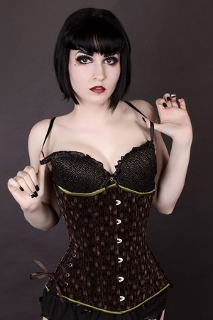 Black Iris Brown Steampunk Velvet Long Corset
