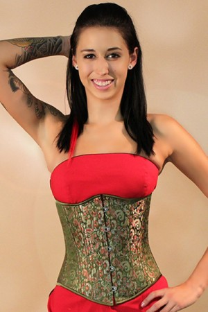Black Iris Edwardian Green Satin Brocade Corset