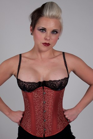 Black Iris Indian Red Embroidery Corset