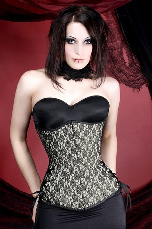 Black Iris Ivory and Black Lace Corset