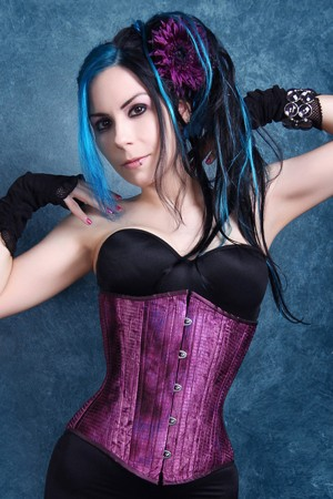Black Iris Purple Tie-Dyed Corset