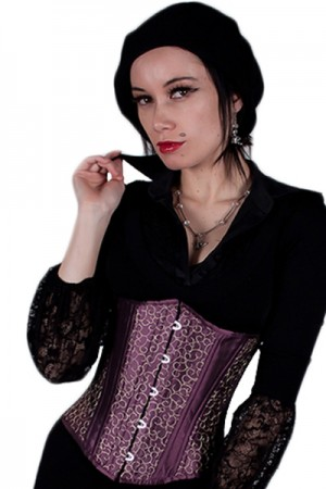 Black Iris Purple with Gold Embroidery Corset