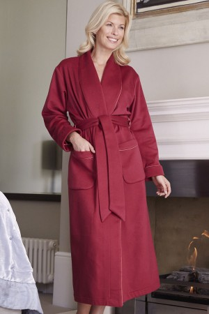 Bonsoir of London Cashmere Plain Silk-Lined Robe