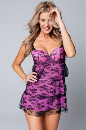 Classic Shapewear Lace & Mesh Tiered Babydoll Set