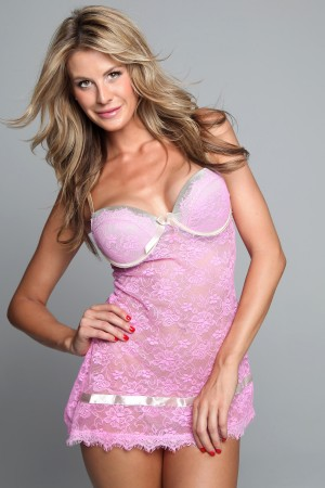 Classic Shapewear Luxurious Satin and Lace Padded Cup Babydoll