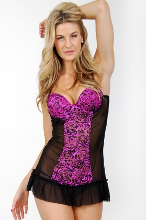 Classic Shapewear Stretch Mesh Floral Padded Cup Babydoll