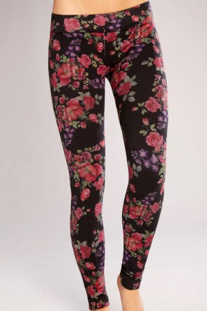 Classic Shapewear Twill Cotton Floral Leggings