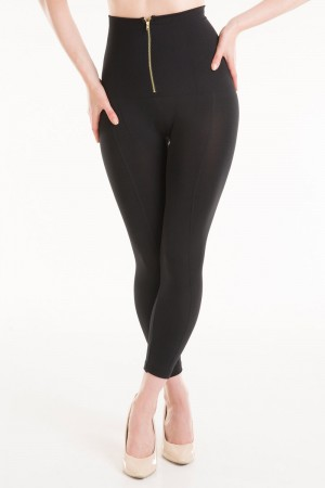Connection 18 Ribbed High Waist Leggings with Zipper Detail