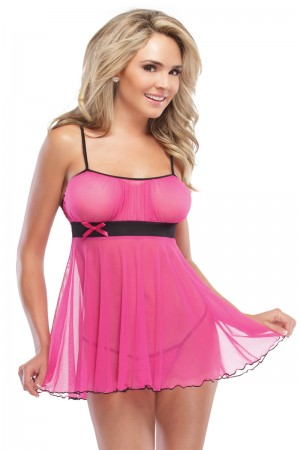Coquette 2-Piece Gathered Mesh Babydoll and G-String Set