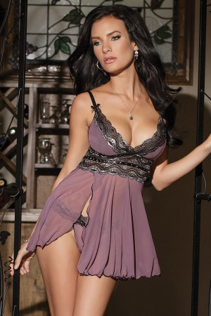 Coquette 2-Piece Padded Cup Babydoll and G-String Set