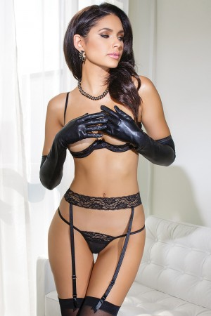 Coquette 3-Piece Lace Bra, Garter Belt & G-String Set
