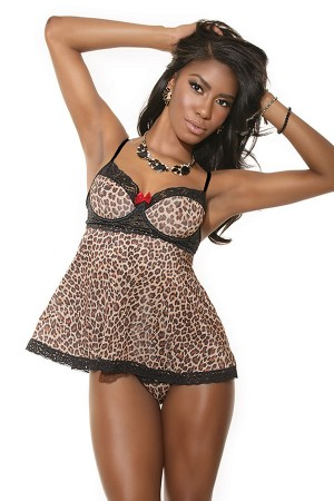 Coquette Babydoll Leopard and G-String