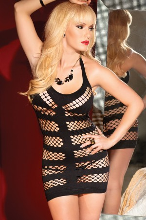 Coquette Fishnet Halter Dress