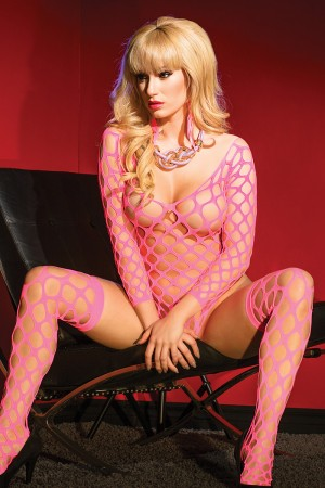 Coquette Fishnet Teddy with Sleeves and Stockings