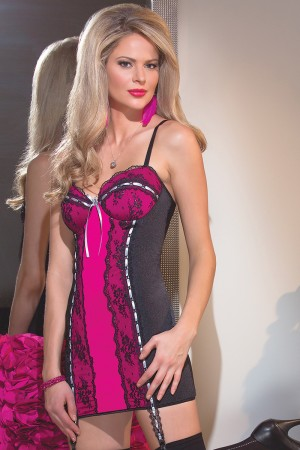 Coquette Metallic Lace and Microfiber Chemise