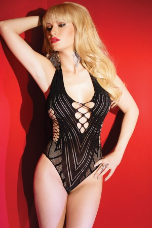 Coquette Patterned Fishnet Teddy