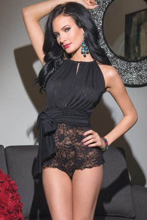 Coquette Strech Lace and Mesh Teddy