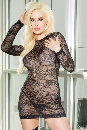 Coquette Strech Lace Mini Dress