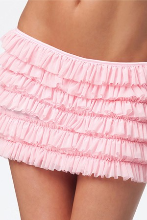 Coquette Stretch Mesh Ruffle Skirt