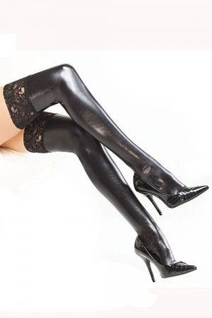 Coquette Wet Look Stay Up Stockings