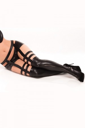 Coquette Wet Look Strappy Stockings