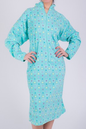 Dot Print Robe with Zipper