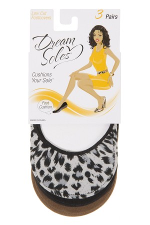 Dream Soles Leopard/Plain Foot Covers 3-Pack