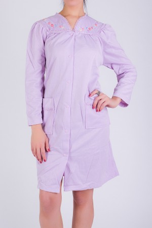 Embroidered Button Front Robe
