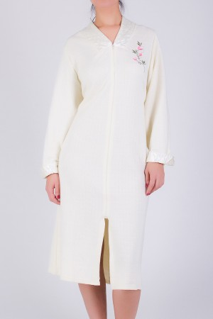 Embroidered Robe with Satin Detail and Zipper
