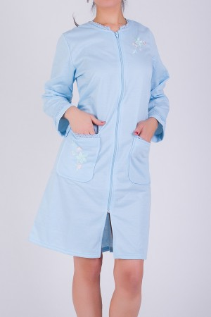 Embroidered Zipper Robe