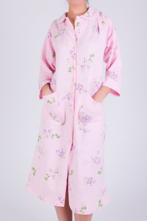 Flower Print Button-Down Robe with Pockets