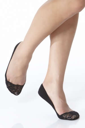 Kushyfoot Super Ultra Low Cut Foot Cover with Lace Top 2-Pack