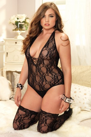 Leg Avenue 2-Piece Floral Lace Deep-V Lace Up Teddy